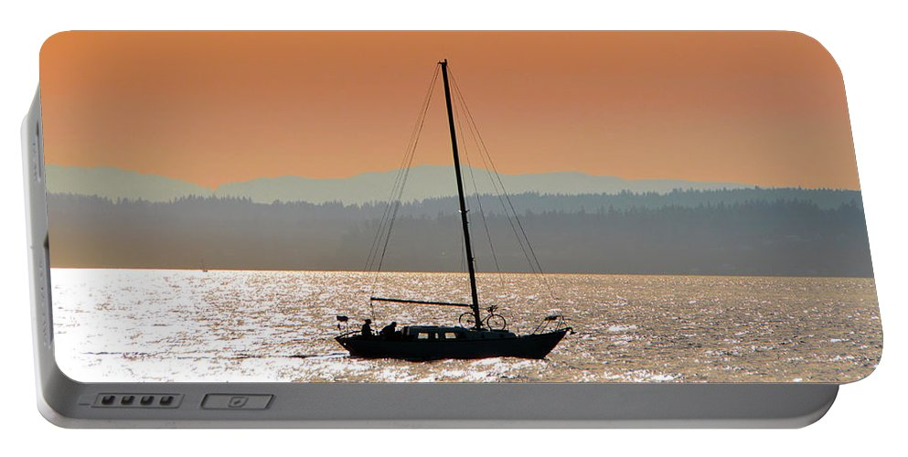 Landscape Portable Battery Charger featuring the photograph Sailboat With Bike by Brian O'Kelly