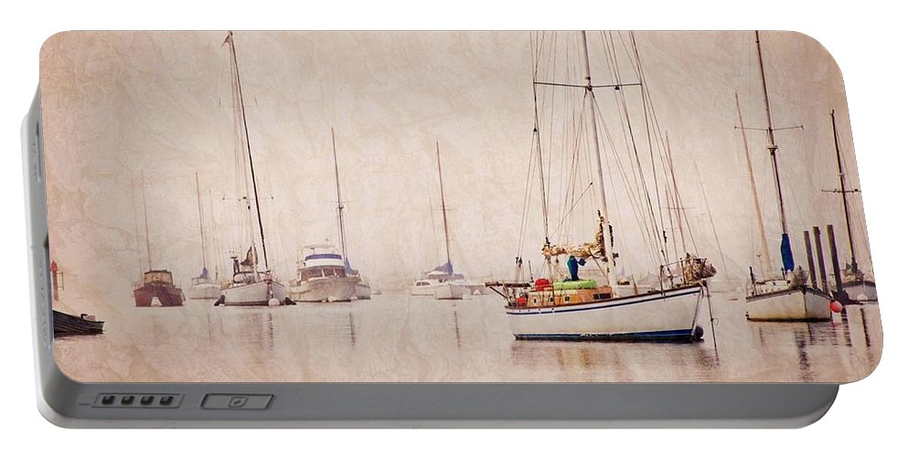 Sailboats Portable Battery Charger featuring the photograph Sailboats in Morro Bay Fog by Zayne Diamond Photographic