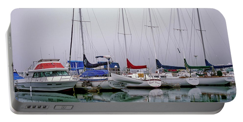 Boats Portable Battery Charger featuring the photograph Sailboats In The Fog by Robert Potts
