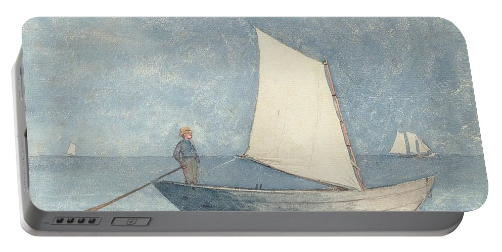 Boat Portable Battery Charger featuring the painting Sailing A Dory by Winslow Homer