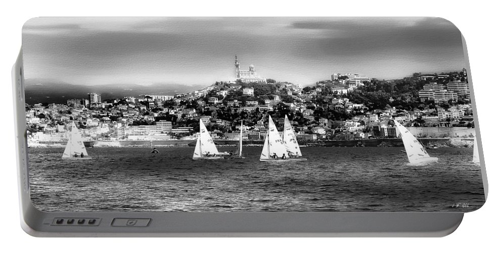 Nature Portable Battery Charger featuring the photograph Sailing Boat Black-and-white by Jean Francois Gil