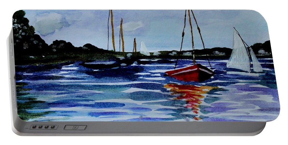 Sailing Portable Battery Charger featuring the painting Sailing Day by Elizabeth Robinette Tyndall