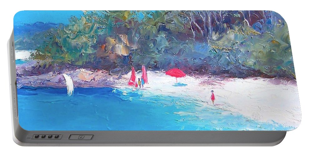 Sailing Portable Battery Charger featuring the painting Sailing Day by Jan Matson