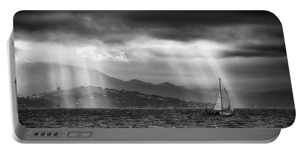 Bay Area Portable Battery Charger featuring the photograph Sailing In Black And White by Laura Macky