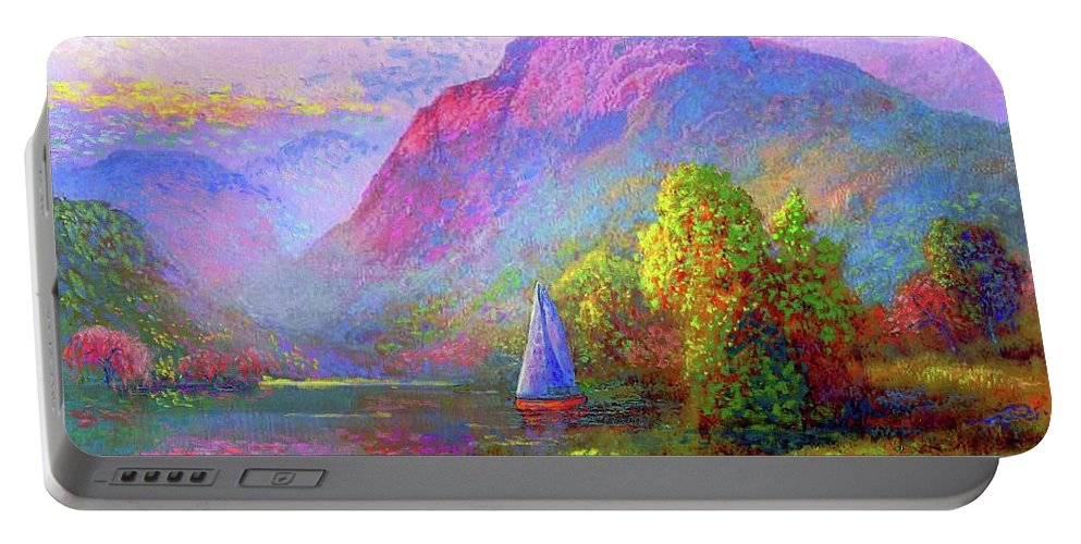 Spring Portable Battery Charger featuring the painting Sailing by Jane Small