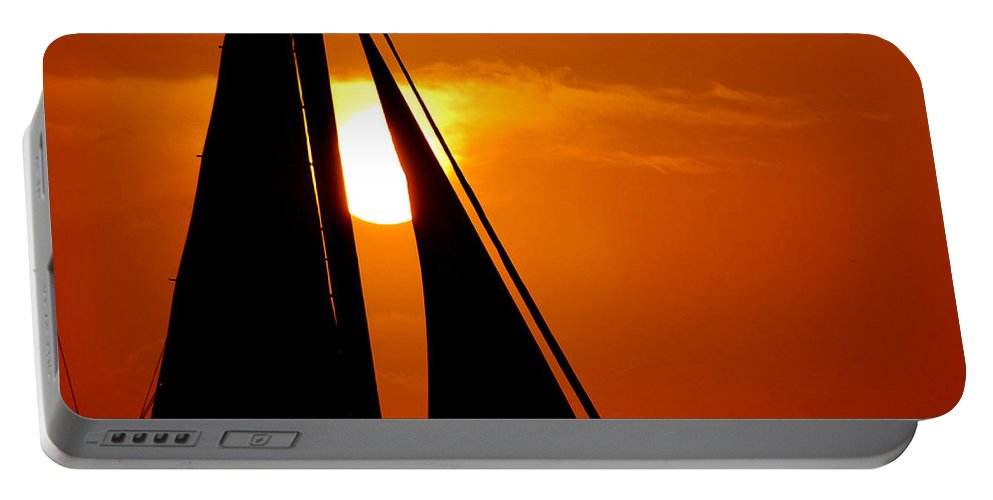 Photography Portable Battery Charger featuring the photograph Sailing Into The Sunset by Susanne Van Hulst