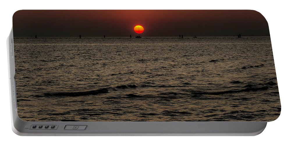 Sunset Portable Battery Charger featuring the photograph Sailing Into The Sunset by Wolfgang Stocker