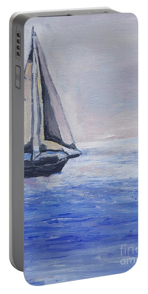 Sunset Portable Battery Charger featuring the painting Sailing Off Cape May Point by Eric Schiabor