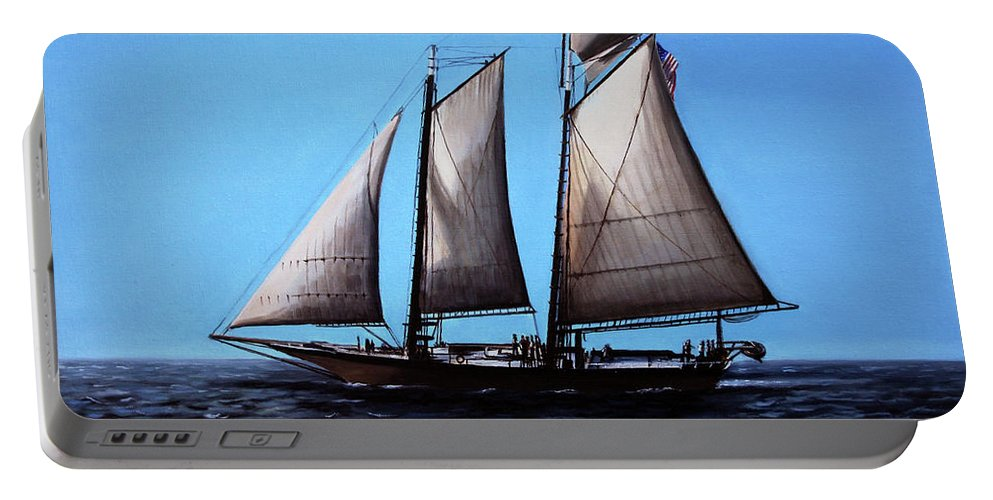 Sail Boat Portable Battery Charger featuring the painting Sailing by Paul Walsh