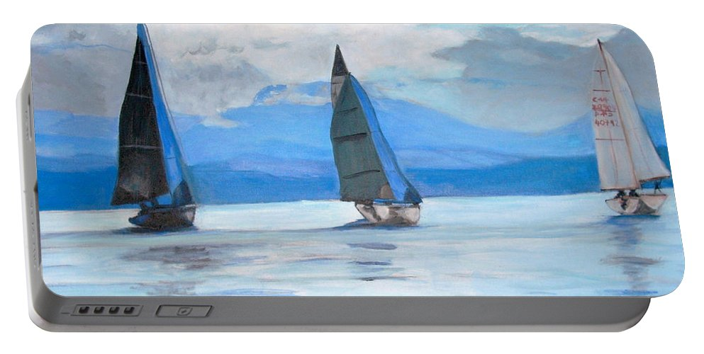 Boat Portable Battery Charger featuring the painting Sailing Race by Teresa Dominici