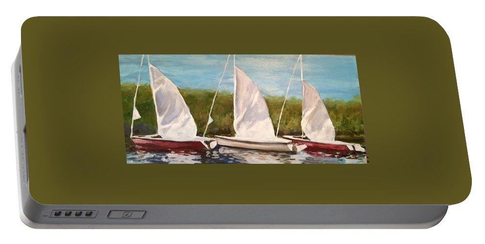 Sailboats Georgian Bay Portable Battery Charger featuring the painting Sailing School by Liz Lasky