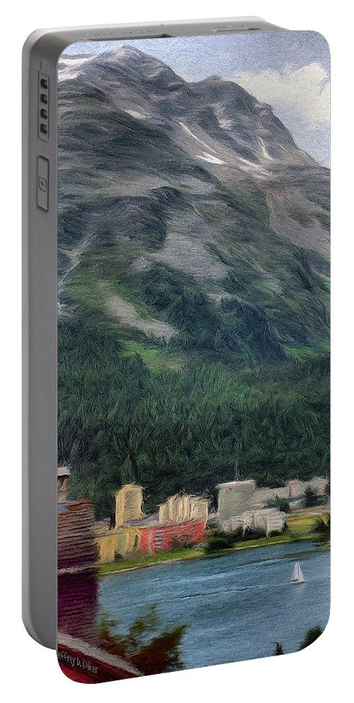 Sailing Portable Battery Charger featuring the painting Sailing St Moritz by Jeffrey Kolker