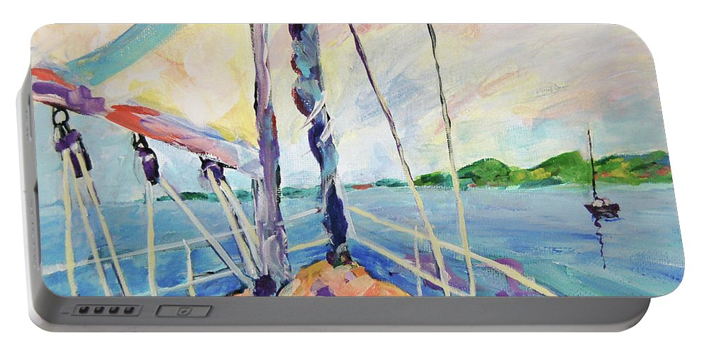 Sailing Portable Battery Charger featuring the painting Sailing - Wind In Your Face by Peggy Johnson