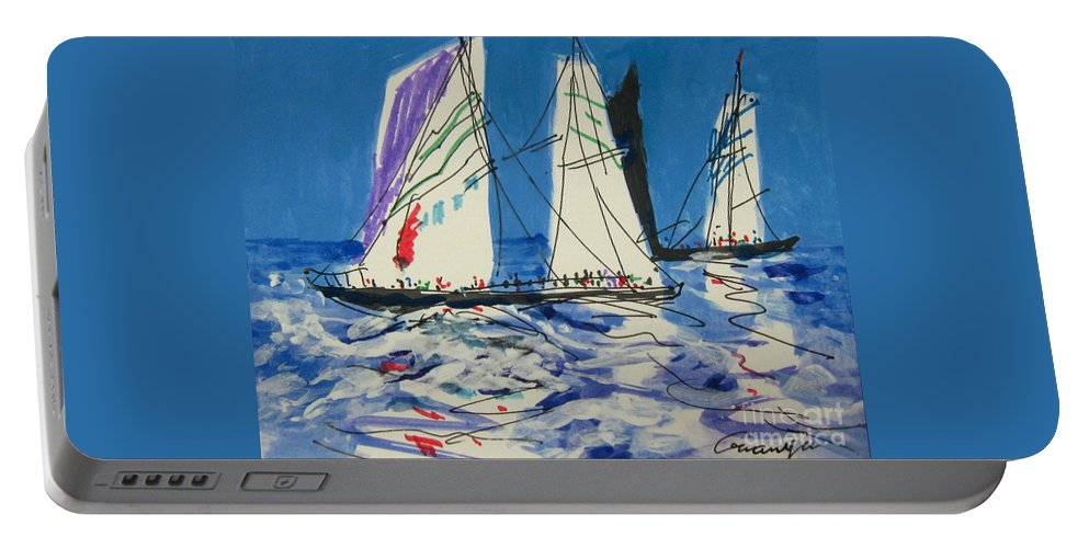 Sails Portable Battery Charger featuring the drawing Sails IIi by Guanyu Shi