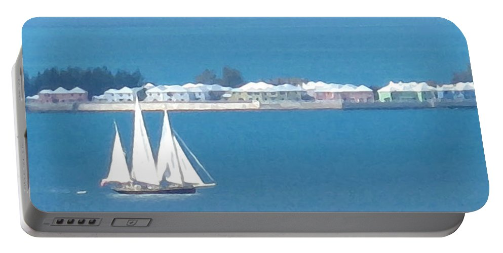 Sailboat Portable Battery Charger featuring the photograph Sails In Bermuda by Ian MacDonald