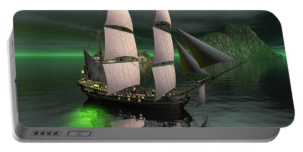 Sailship Portable Battery Charger featuring the digital art Sailship In The Night by John Junek