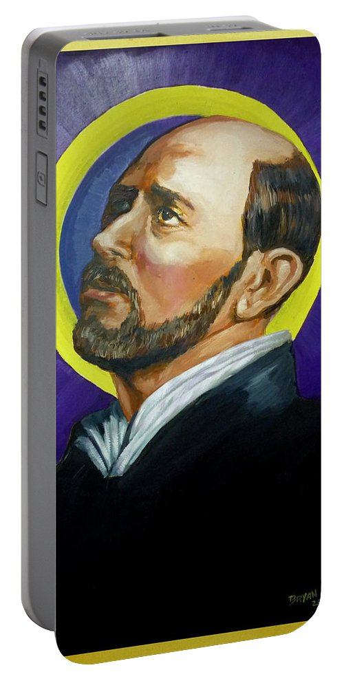 Saint Portable Battery Charger featuring the painting Saint Ignatius Loyola by Bryan Bustard
