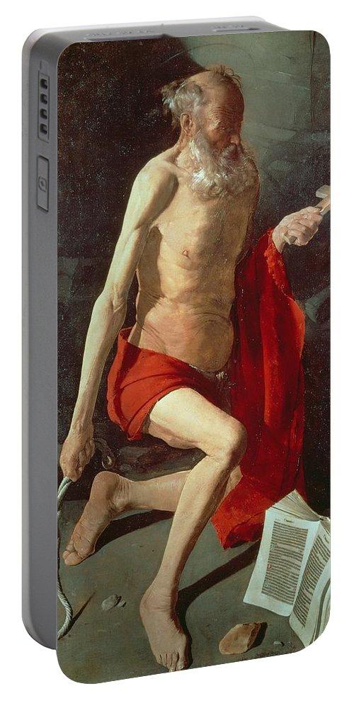 Jerome Portable Battery Charger featuring the painting Saint Jerome by Georges de la Tour
