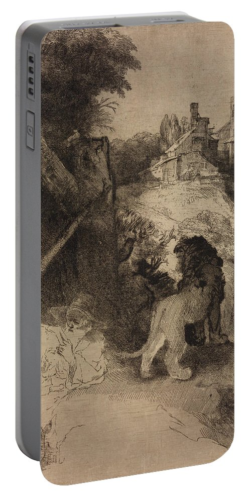 Rembrandt Portable Battery Charger featuring the relief Saint Jerome In An Italian Landscape by Rembrandt