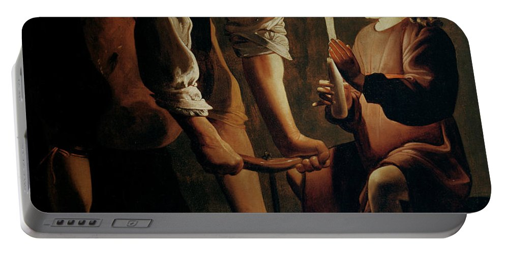 Georges De La Tour Portable Battery Charger featuring the painting Saint Joseph The Carpenter by Georges de la Tour