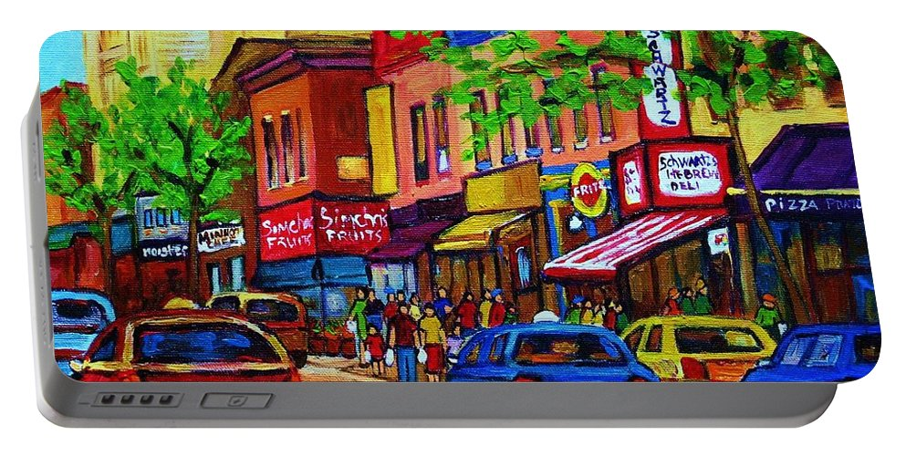 Cityscape Portable Battery Charger featuring the painting Saint Lawrence Street by Carole Spandau