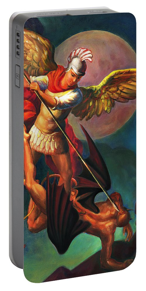 Bible Portable Battery Charger featuring the painting Saint Michael The Warrior Archangel by Svitozar Nenyuk