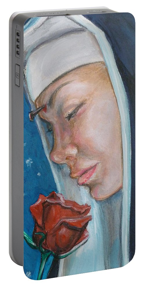 Saint Rita Portable Battery Charger featuring the painting Saint Rita Of Cascia by Bryan Bustard