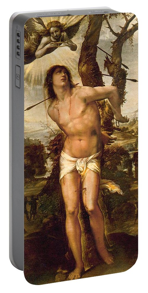 Il Sodoma Portable Battery Charger featuring the painting Saint Sebastian by Il Sodoma