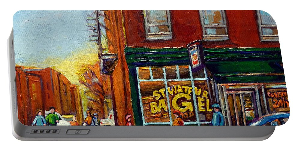 Montreal Portable Battery Charger featuring the painting Saint Viareur And Park Avenue Bagel Shop by Carole Spandau