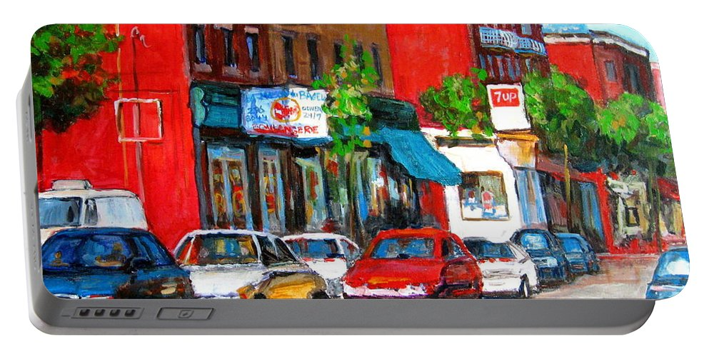 St.viateur Bagel Portable Battery Charger featuring the painting Saint Viateur Street by Carole Spandau