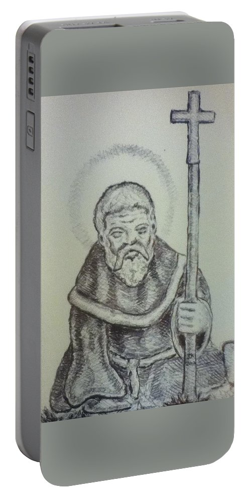 Saint Wulfric Portable Battery Charger featuring the drawing Saint Wulfric The Miracle Worker by Joseph Kushnir