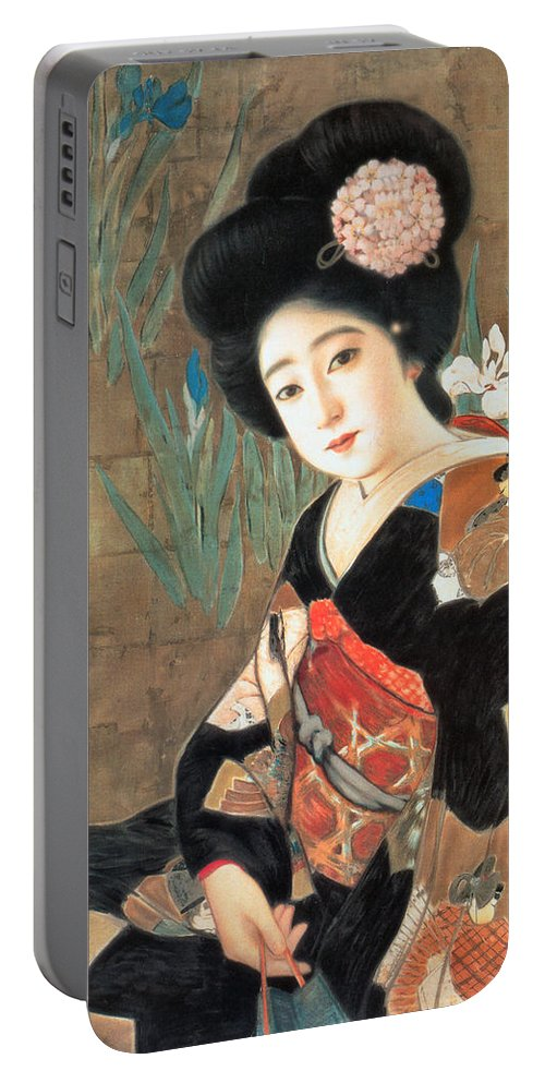 Oriental Advertising Portable Battery Charger featuring the painting Sakura Beer by Oriental Advertising