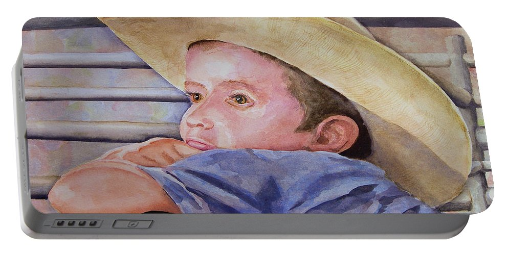 Sale Portable Battery Charger featuring the painting Sale Day by Sam Sidders