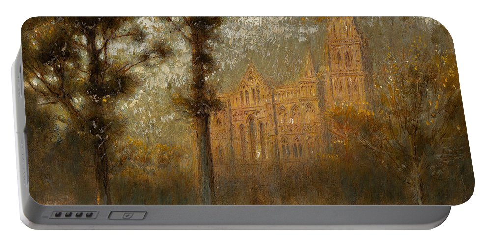 Salisbury Cathedral: The West Front And Spire (pencil Portable Battery Charger featuring the painting Salisbury Cathedral by Albert Goodwin