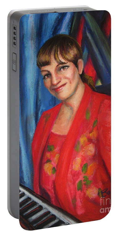 Musician Portable Battery Charger featuring the painting Sally Ann by Beverly Boulet
