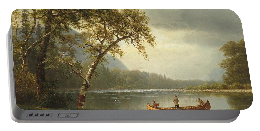 Landscape; Rural; Countryside; Canadian; Fishermen; Boat; Leisure; Calm; Peaceful; Kayak; Camp; Campfire; Fire; Kettle; Scenic; Riverbank Portable Battery Charger featuring the painting Salmon Fishing On The Caspapediac River by Albert Bierstadt