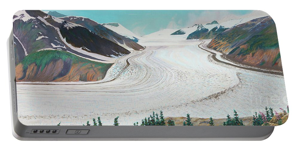 Salmon Glacier Portable Battery Charger featuring the painting Salmon Glacier, Frozen Motion by Stanza Widen