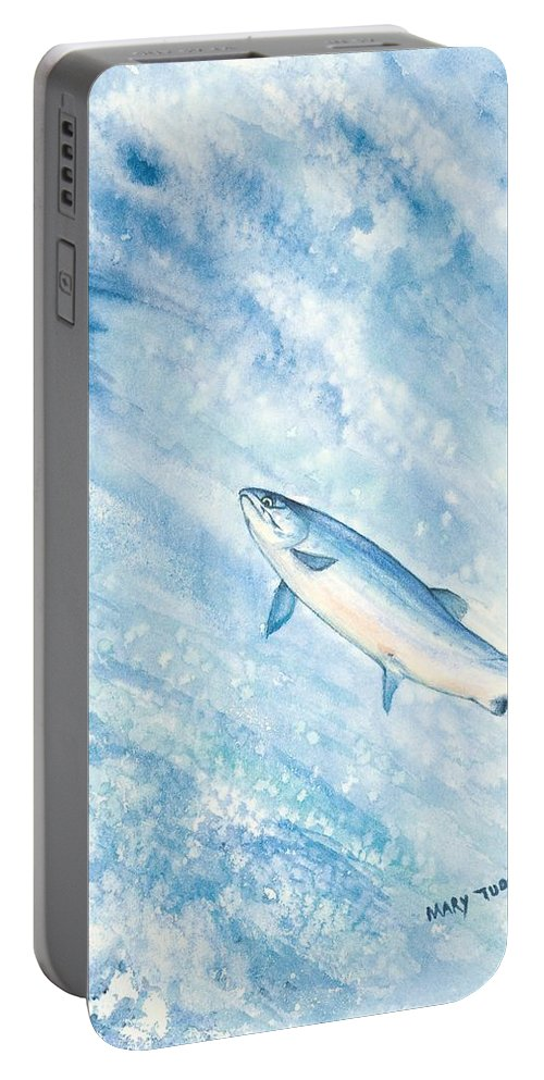 Fish Portable Battery Charger featuring the painting Salmon by Mary Tuomi