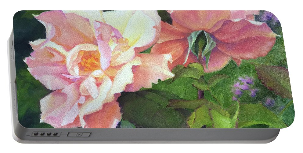 Rose Portable Battery Charger featuring the painting Salmon Roses by Teri Rosario