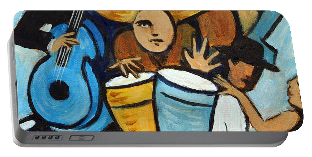 Cubist Salsa Dancers Portable Battery Charger featuring the painting Salsa Night by Valerie Vescovi