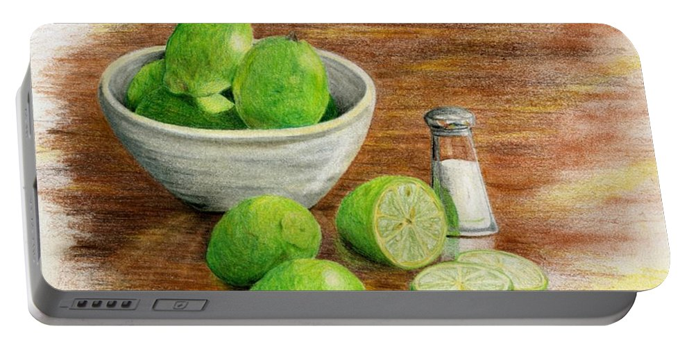 Fruit Portable Battery Charger featuring the painting Salt And Lime by Mary Tuomi