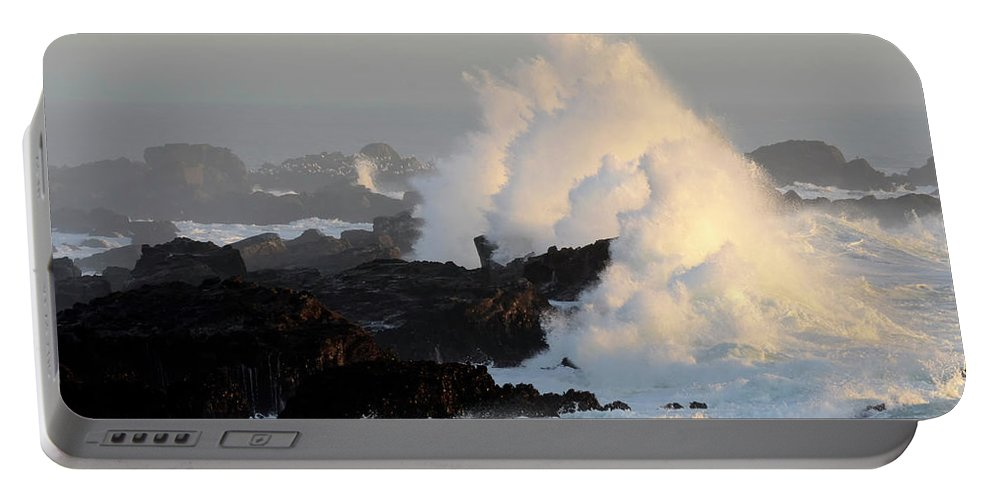Waves Portable Battery Charger featuring the photograph Salt Point Wave by Bob Christopher
