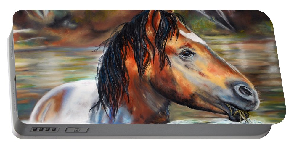 Salt River Arizona Horse Equine Stallion Water Horses Wild Mustang Horses Western Karen Kennedy Chatham Art. Rustic Natural Wildlife Reflection Reflections Greeting Card Art Print Prints Metal Art Prints Acrylic Prints Canvas Portable Battery Charger featuring the pastel Salt River Tango by Karen Kennedy Chatham
