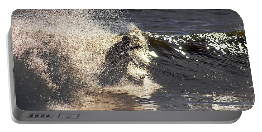 Clay Portable Battery Charger featuring the photograph Salt Spray Surfing by Clayton Bruster