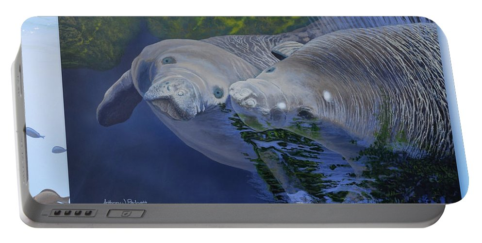 Manatees Portable Battery Charger featuring the painting Salt Water Ballet - Manatees - 2 by Anthony J Padgett