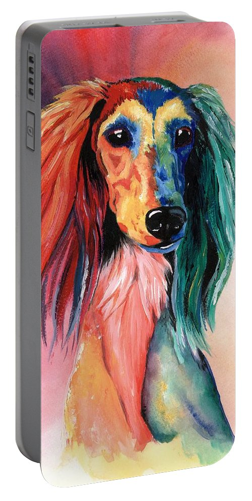 Saluki Portable Battery Charger featuring the painting Saluki Sunset by Kathleen Sepulveda