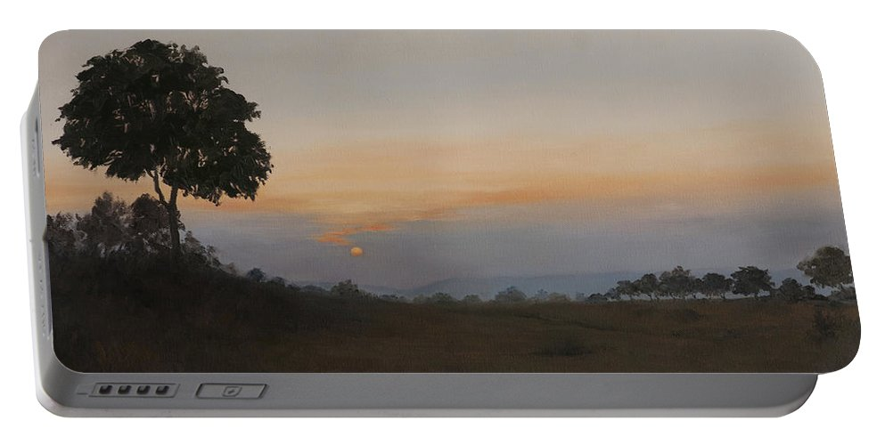 Dawn Portable Battery Charger featuring the painting Salutation To The Dawn by Mandar Marathe