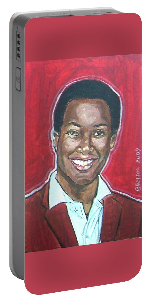 Sam Cooke Portable Battery Charger featuring the painting Sam Cooke by Bryan Bustard