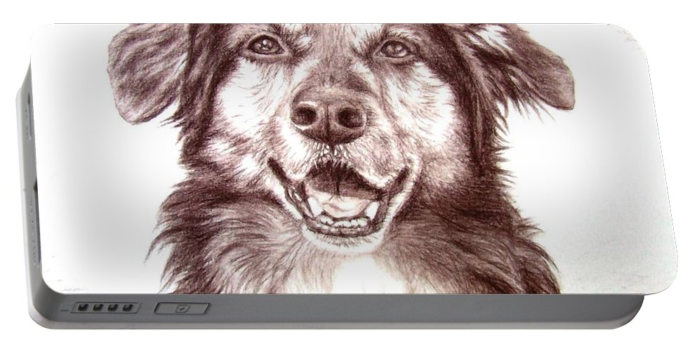 Dog Portable Battery Charger featuring the drawing Sam by Nicole Zeug