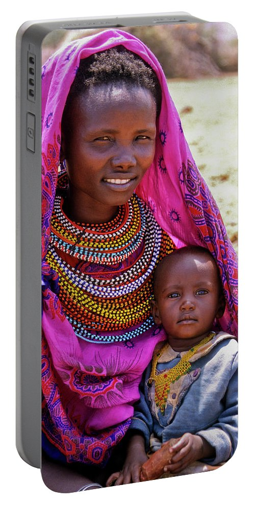 Africa Portable Battery Charger featuring the photograph Samburu Madonna by Michele Burgess